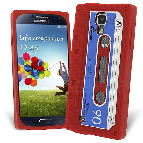 Retro Cassette Case Cover for Samsung Galaxy S4 - Red