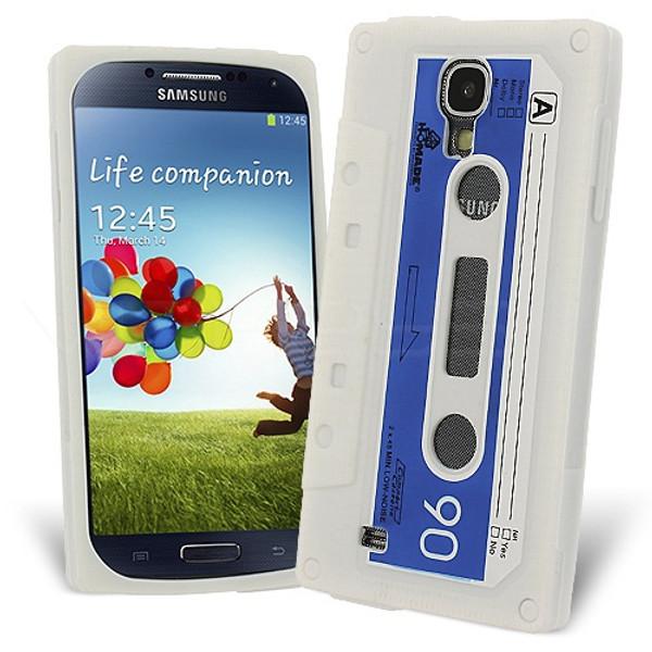 Retro Cassette Case Cover for Samsung Galaxy S4 - White