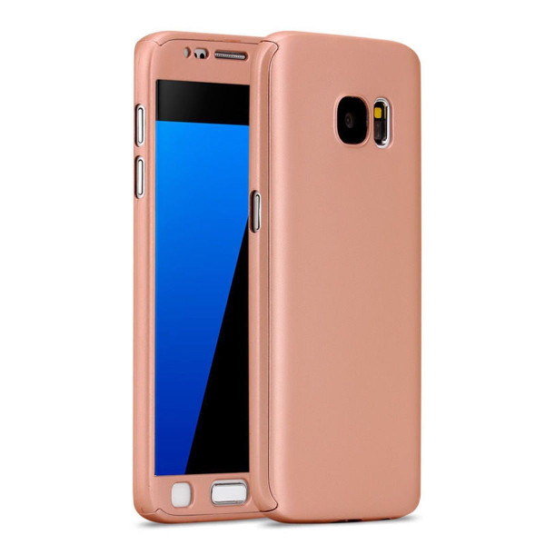Rose Gold Samsung Galaxy S7 Edge  Hybrid 360 Hard Shock Proof Front Back Case  Cover