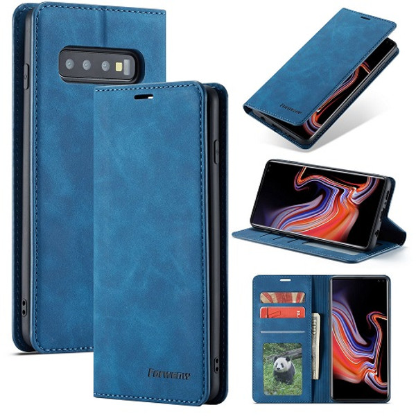 Samsung Galaxy  S10 Plus Blue Leather  Wallet Card Slots Stand Case