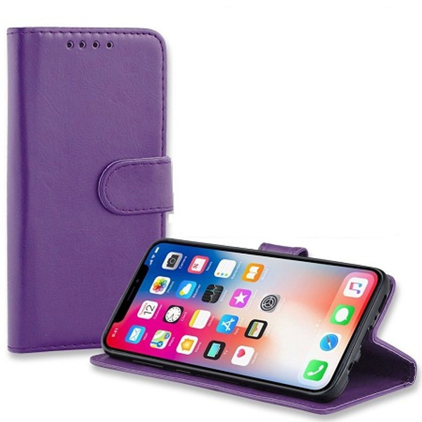 Apple iPhone  XS Purple Real Genuine Leather Flip Wallet  Cover