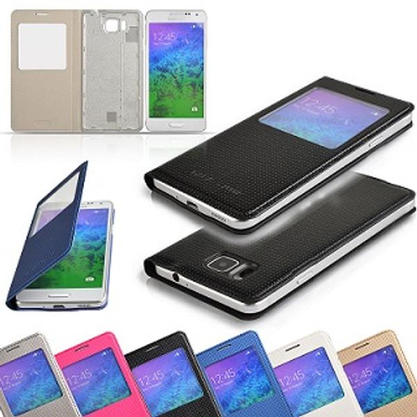 Samsung Galaxy Alpha S-View Flip PU Leather Case - Gold