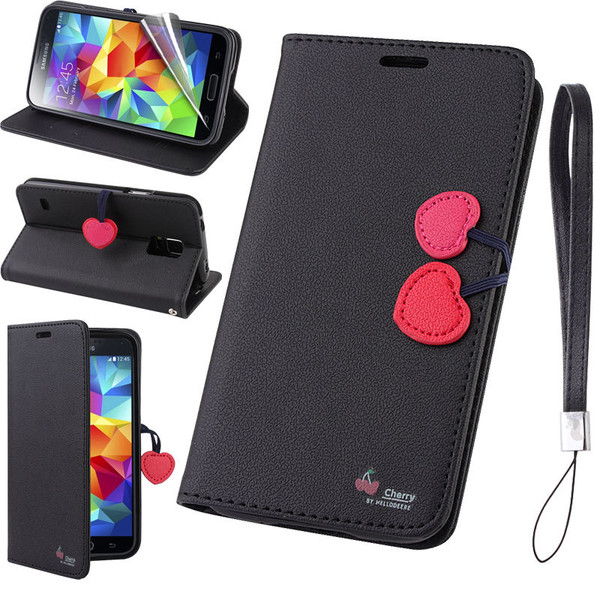Samsung Galaxy Cherry Leather Flip Stand Wallet Case Cover For S7  Black