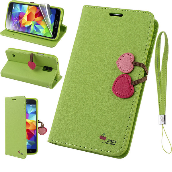 Samsung Galaxy Cherry Leather Flip Stand Wallet Case Cover For S7  Green