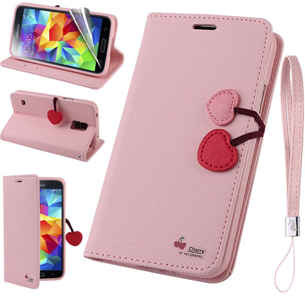 Samsung Galaxy Cherry Leather Flip Stand Wallet Case Cover For S7  Rose Gold