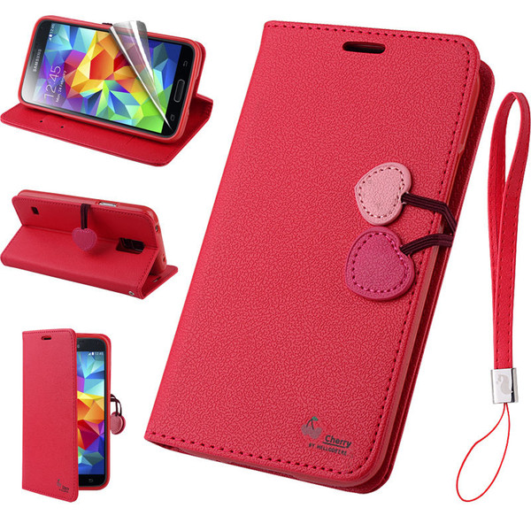 Samsung Galaxy Cherry Leather Flip Stand Wallet Case Cover For S7 Red