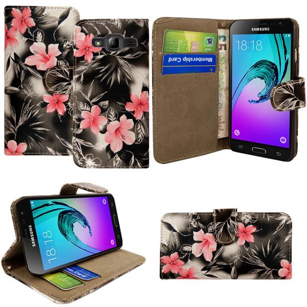 Samsung Galaxy J3  Pink Flower on Dark Grey  Magnetic wallet Case