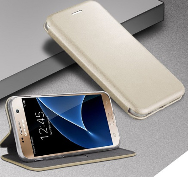 Samsung Galaxy J3 2017 Gold Smart Luxury Leather Wallet Case