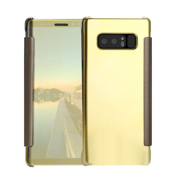 Samsung Galaxy J3 2017 Mirror Smart View Clear Flip Case Cover - Gold
