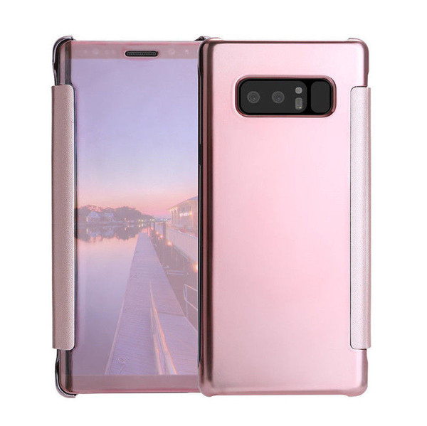 Samsung Galaxy J3 2017 Mirror Smart View Clear Flip Case Cover -Rose Gold