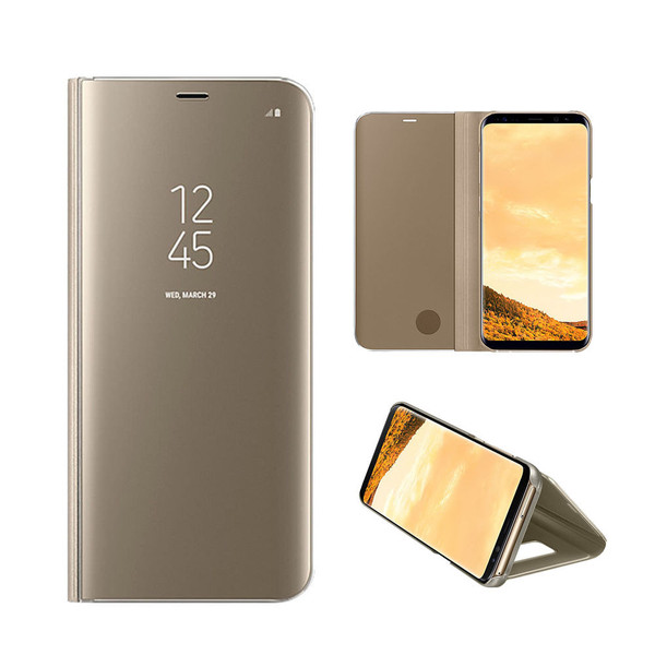 Samsung Galaxy J3 2017 Mirror Stand Case Cover Gold
