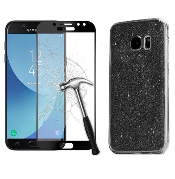 Samsung Galaxy J3 2017 Sparkling Black  Ultra Slim Gel Case Cover + Tempered Glass