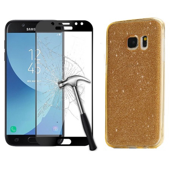 Samsung Galaxy J3 2017 Sparkling Gold  Ultra Slim Gel Case Cover + Tempered Glass
