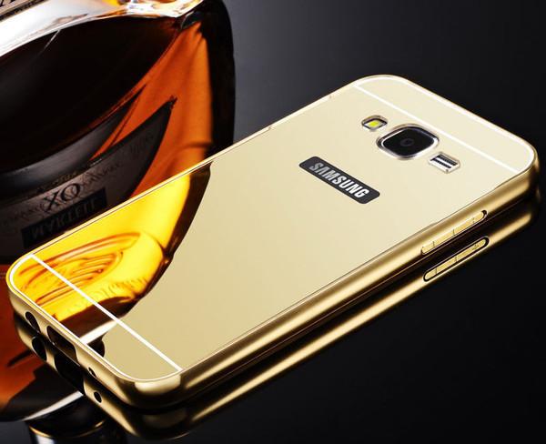 Samsung Galaxy J3 Aluminium Metal Bumper Mirror Hard Back Case Cover - Gold