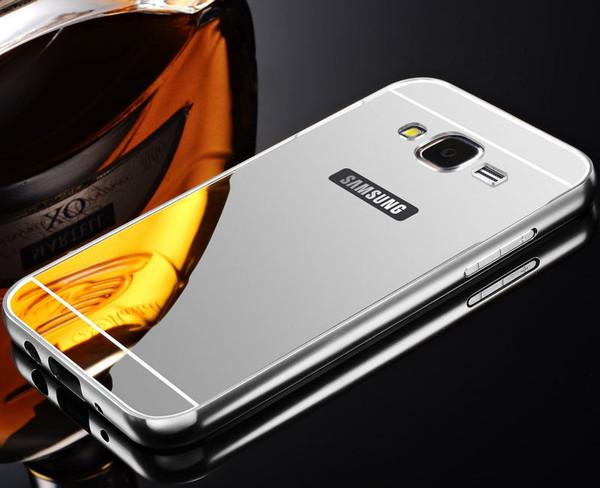Samsung Galaxy J3 Aluminium Metal Bumper Mirror Hard Back Case Cover - Silver