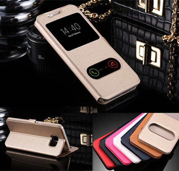 Samsung Galaxy J3 Double Window Leather Stand Flip Wallet Case - Black