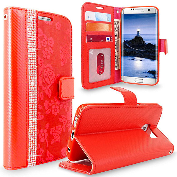 Samsung Galaxy J3 Magnetic Wallet Red Case