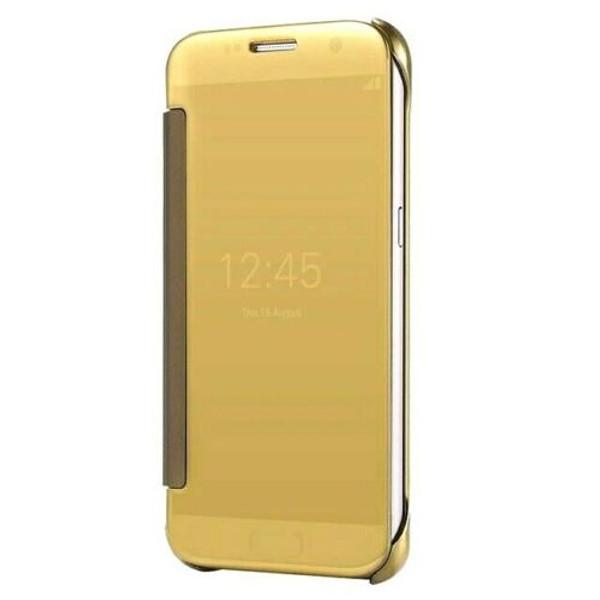 Samsung Galaxy J3 Mirror Smart View Clear Flip Case Cover - Gold
