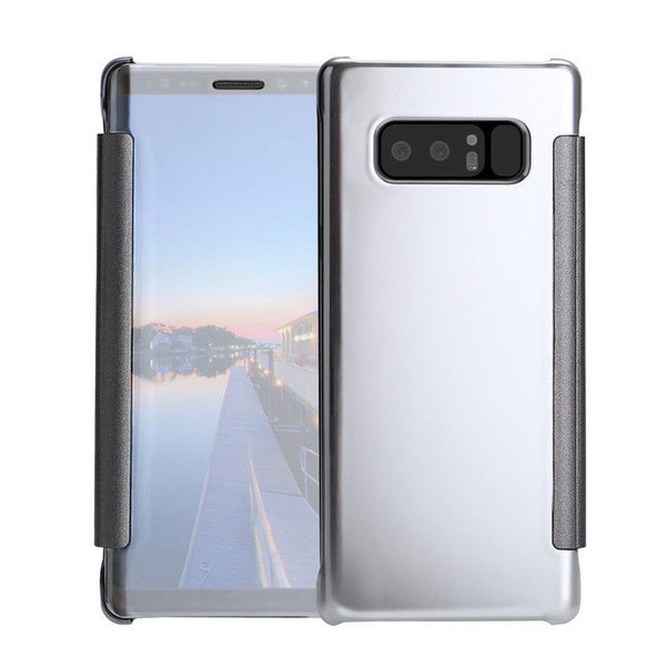 Samsung Galaxy J3 Mirror Smart View Clear Flip Case Cover - Silver