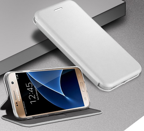 Samsung Galaxy J3 Silver Smart Luxury Leather Wallet Case