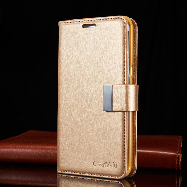 Champagne Gold Samsung Galaxy S6 Edge Plus Luxury Magnetic Flip Cover Stand Wallet Leather Case