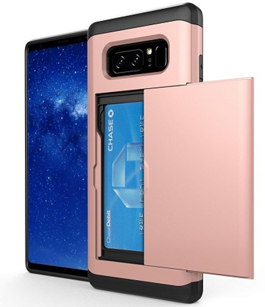 Samsung Galaxy Note 8 Hybrid Armour Hard PC Credit Card  Rose Gold Case