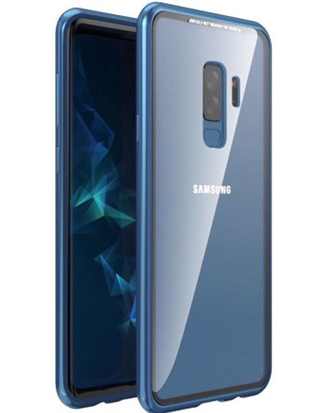 Samsung Galaxy Note 9 Blue Magnetic Adsorption Metal Bumper Glass Case