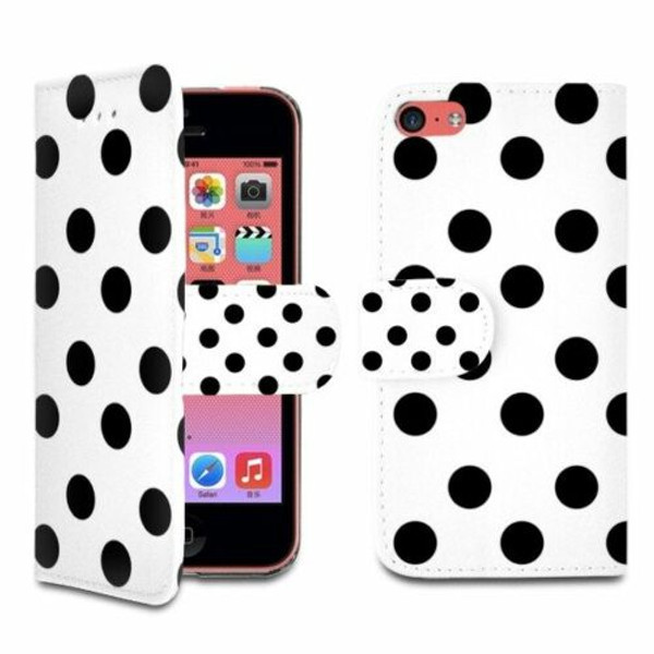 Samsung Galaxy Note3  White and Black  Polka Dot  wallet case