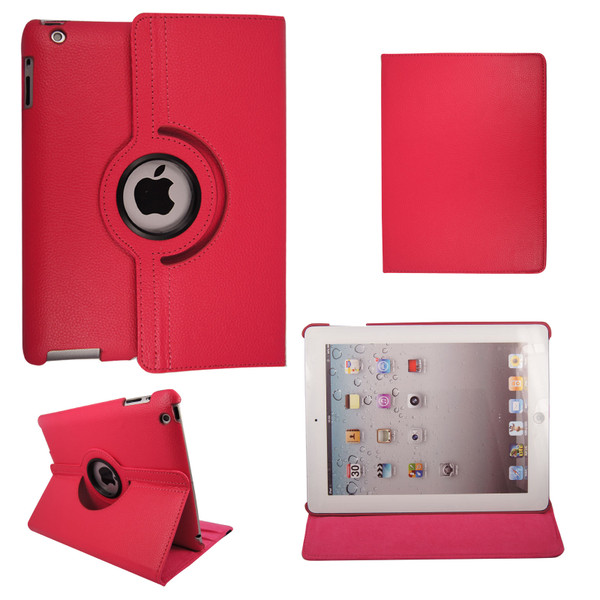 Pink PU Leather 360 Rotating Case for iPad Air 2