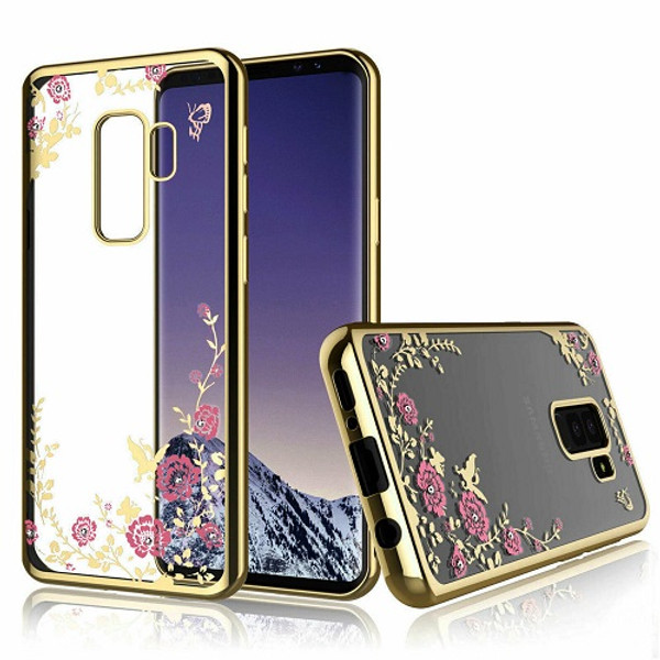 Samsung Galaxy S10 Plus  Shockproof Gel Bling Pink Flower Gold Bumper case