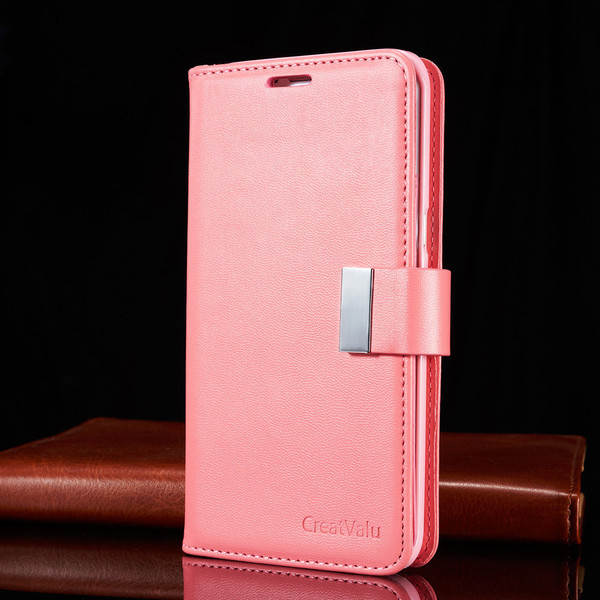 Pink Samsung Galaxy S6 Luxury Magnetic Flip Cover Stand Wallet Leather Case