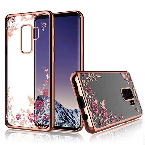 Samsung Galaxy S10 Plus Shockproof Gel Bling Pink Flower Rose Gold Bumper case