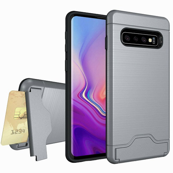 Samsung Galaxy S10e Grey  Armor Card Holder Rugged Case