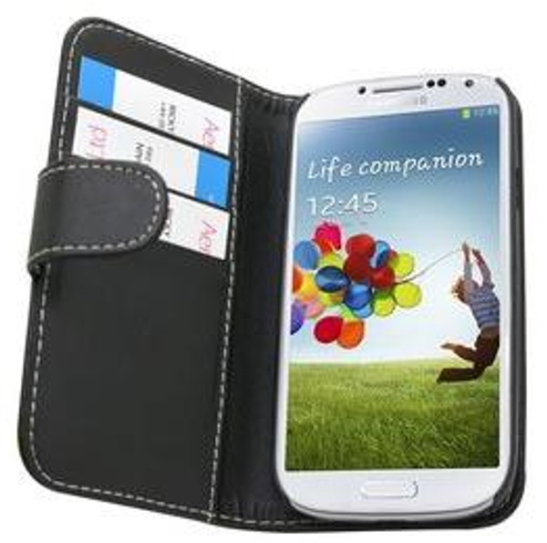 Samsung Galaxy S4 I9500 PU Leather Wallet Case in Black