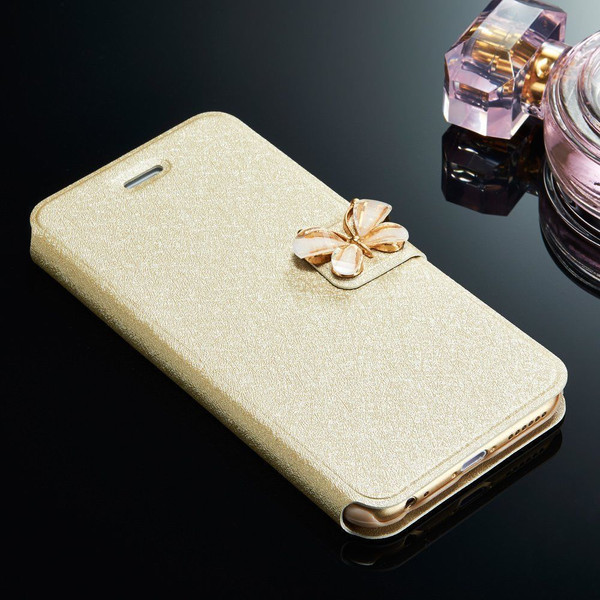Samsung Galaxy S5 Gold Slim Stand Wallet Magnetic Case
