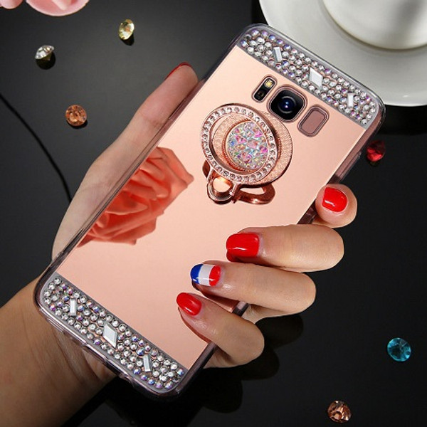 Samsung Galaxy S6  Rose Gold Bling Glitter Finger Ring Stand Mirror TPU Case