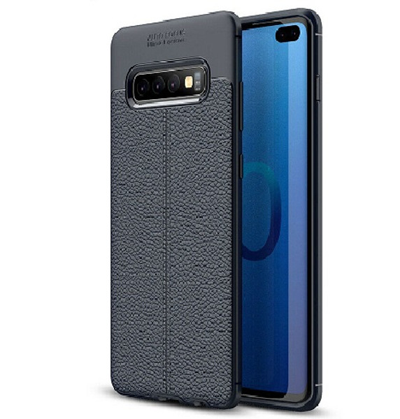 Samsung Galaxy S10 Plus Hybrid Leather Rubber Soft Slim Case