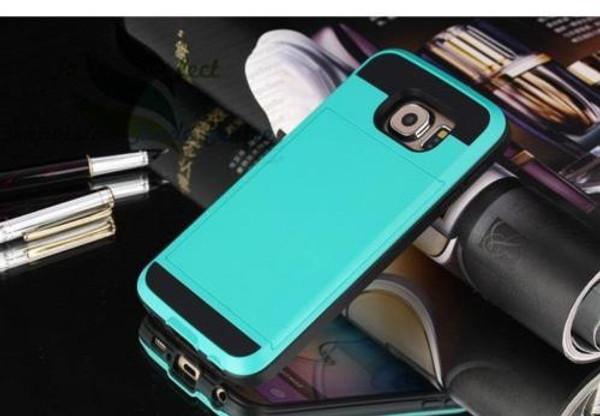 Samsung Galaxy S6 Edge Card Pocket Slim Hybrid Case- Aqua