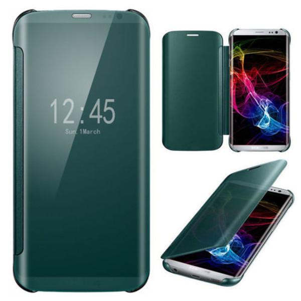Samsung Galaxy S6 Edge Plus Mirror Smart View Clear Flip Cover - Green