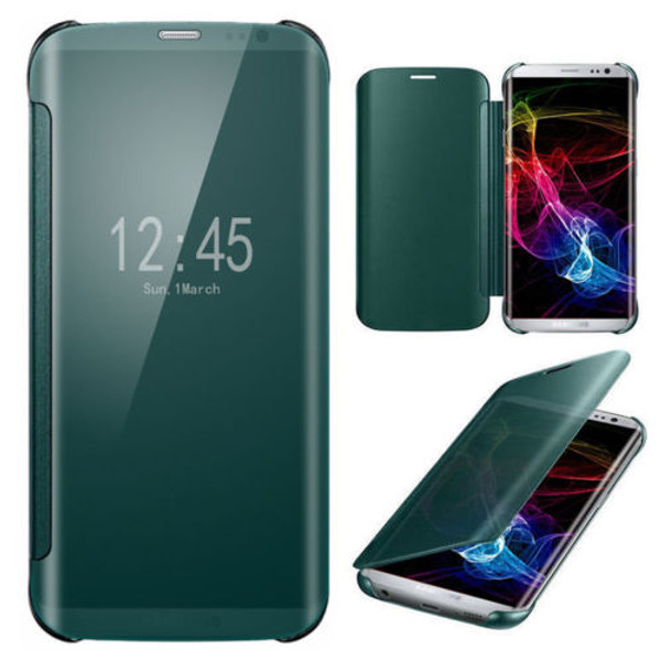 Samsung Galaxy S6 Edge Plus Mirror Smart View Clear Flip Cover - Green