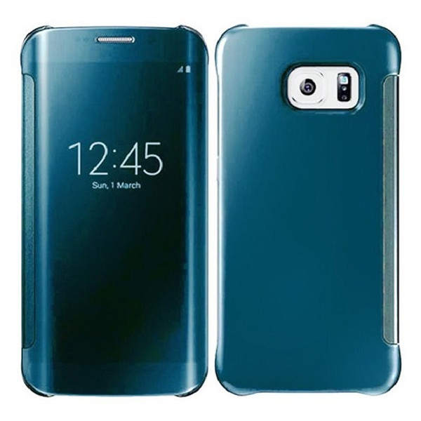 Samsung Galaxy S6 Edge Plus Mirror Smart View Clear Flip Cover - Light Blue