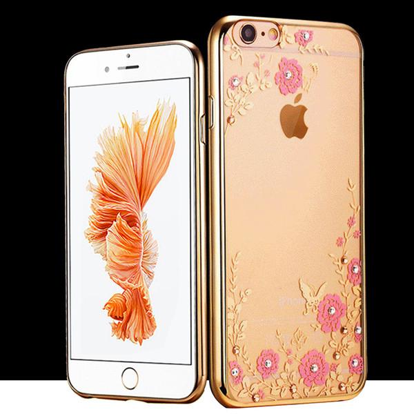 Samsung Galaxy S6 Edge Shockproof Gel Bling Pink Flower Gold Bumper case