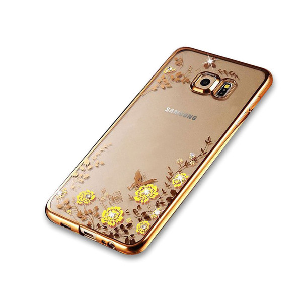 Samsung Galaxy S6 Edge Shockproof Gel Bling Yellow Flower  Gold Bumper case
