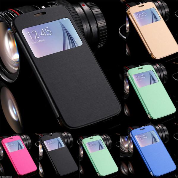 Samsung Galaxy S6 Edge Window View Case Cover - Blue