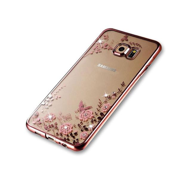 Samsung Galaxy S6 EdgeShockproof Gel Bling Pink Flower Rose Gold Bumper case