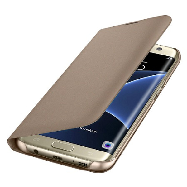 Samsung Galaxy S6 Leather Wallet Card Holder Cover - Gold