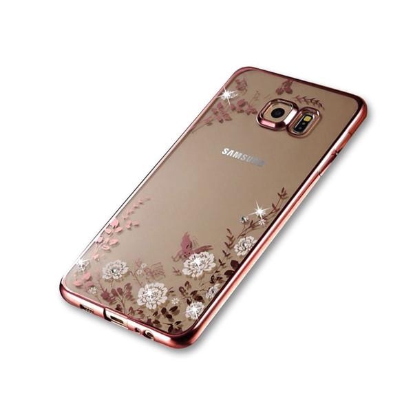 Samsung Galaxy S6 Shockproof Gel Bling White Flower Rose Gold Bumper case
