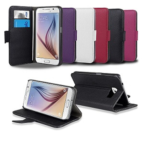 Samsung Galaxy S6 Wallet Leather Stand Case - Black