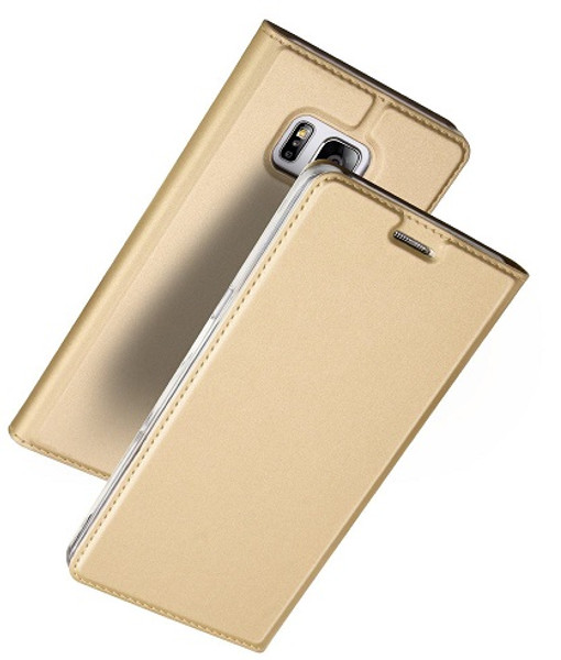 Samsung Galaxy S7 Edge  Luxury Ultra Thin Leather Flip Card Holder Case- Gold