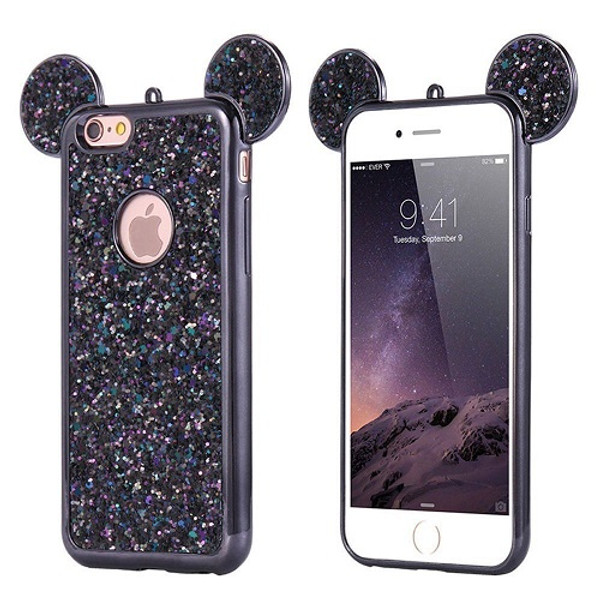 Samsung Galaxy S7 Edge Black Glitter Bling Cute Mickey Ear Phone Case